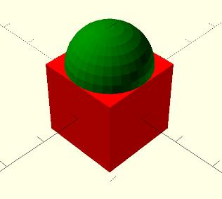 Simple sphere on cube