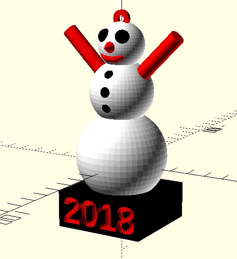 Snowman rendered in OpenSCAD